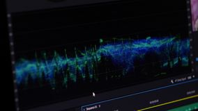 Video Editing Software oscilloscope. Video Editing Software Going Through The Timeline Frame By Frame Point Of View stock video