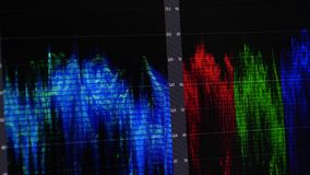 Video Editing Software oscilloscope. Video Editing Software Going Through The Timeline Frame By Frame Point Of View stock footage