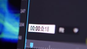 Video Editing Software timer. Video Editing Software Going Through The Timeline Frame By Frame Point Of View stock footage