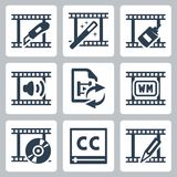 Video editor and converter icons Stock Photos