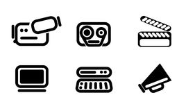 Video editor and converter icons set. Video  simply symbols for web and user interface Royalty Free Stock Images