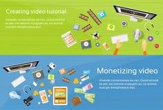 Video Editor Desk Workplace Web Banner Set Stock Image
