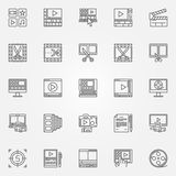 Video editor icons set. Video editing signs in thin line style. Minimal movie symbols Royalty Free Stock Images