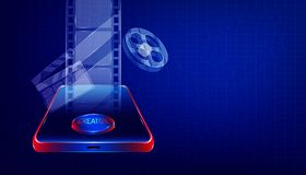 Video editor on smartphone. luxury transparent glass equipment of film movie creator for your make clip and make it online. plaid. Background style royalty free illustration