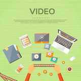 Video Editor Workplace Hands Laptop Player Flat. Vector Illustration royalty free illustration