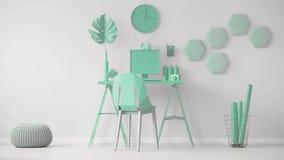 Video eines tadellosen grünen Büroinnenraums mit Hexagonwanddekoration nahe bei einem Schreibtisch mit Computer Cinemagraph Überf stock video