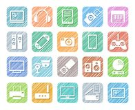 Video electronics, audio electronics, icons, colour, shading, vector. Royalty Free Stock Photography