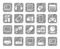 Video electronics, audio electronics, icons, grey, shading, vector. Stock Photography