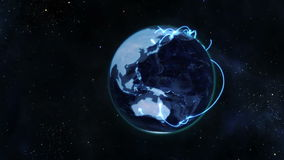 A video emerges from the earth and shows business people shaking hands with Earth image courtesy of