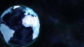A video emerges showing a man with a globe with Earth image courtesy of Nasa.org Royalty Free Stock Photo