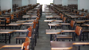 Video of empty test exam room. Abstract education and competition stock footage