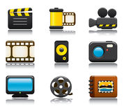 Video en de Reeks van het Pictogram van de Foto  Stock Afbeeldingen
