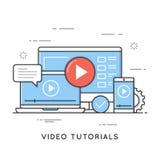 Video en webinar leerprogramma's die, online, afstand opleiden leren Stock Foto