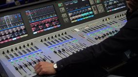 Video engineer`s console at the event stock video footage