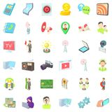 Video environment icons set, cartoon style. Video environment icons set. Cartoon set of 36 video environment vector icons for web isolated on white background Stock Images
