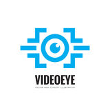 Video eye - vector business logo template concept illustration. Modern & future vision tech creative sign. Security technology. Stock Images
