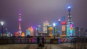 video för hyperlapse 4k av Shanghai på natten lager videofilmer