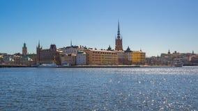 Video för Tid schackningsperiod av den Stockholm staden Gamla Stan i Sverige, Timelapse 4k stock video