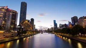 video för timelapse 4k av Melbourne från solnedgång till natten arkivfilmer