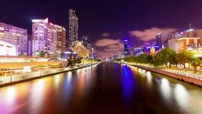 video för timelapse 4k av Melbourne på natten arkivfilmer