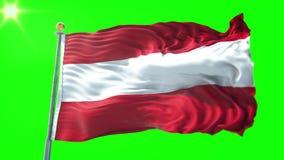Video för tolkning 3D för Österrike flagga sömlös kretsa Härligt vinka för ögla för textiltorkduketyg