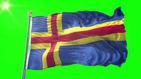 Video för tolkning 3D för Aland flagga sömlös kretsa Härligt vinka för ögla för textiltorkduketyg