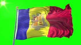 Video för tolkning 3D för Andorra flagga sömlös kretsa Härligt vinka för ögla för textiltorkduketyg