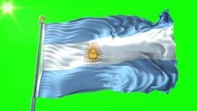 Video för tolkning 3D för Argentina flagga sömlös kretsa Härligt vinka för ögla för textiltorkduketyg