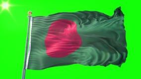 Video för tolkning 3D för Bangladesh flagga sömlös kretsa Härligt vinka för ögla för textiltorkduketyg