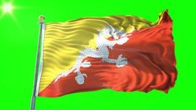 Video för tolkning 3D för Bhutan flagga sömlös kretsa Härligt vinka för ögla för textiltorkduketyg