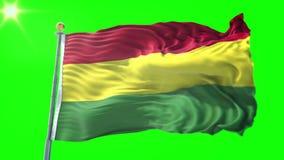 Video för tolkning 3D för Bolivia flagga sömlös kretsa Härligt vinka för ögla för textiltorkduketyg
