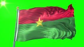 Video för tolkning 3D för Burkina Faso flagga sömlös kretsa Härligt vinka för ögla för textiltorkduketyg