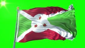 Video för tolkning 3D för Burundi flagga sömlös kretsa Härligt vinka för ögla för textiltorkduketyg