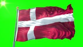 Video för tolkning 3D för Danmark flagga sömlös kretsa Härligt vinka för ögla för textiltorkduketyg