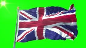 Video för tolkning 3D för Förenade kungariket flagga sömlös kretsa Härligt vinka för ögla för textiltorkduketyg