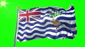 Video för tolkning 3D för flagga för brittiskt Indiska oceanenterritorium sömlös kretsa Härligt vinka för ögla för textiltorkduke
