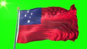 Video för tolkning 3D för Samoa flagga sömlös kretsa Härligt vinka för ögla för textiltorkduketyg