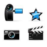 video för vektor för symbolsfoto set Arkivbild
