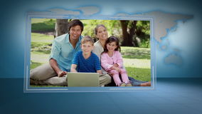 Video of family looking a laptop with Earth image courtesy of Nasa.org stock footage