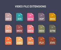 Video file extensions. Flat colored vector icons. Flat colored vector icons set Royalty Free Stock Images