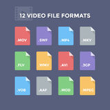 Video File Formats. Movie and footage file type icons Stock Photo