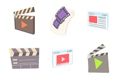 Video file icon set, cartoon style. Video file icon set. Cartoon set of video file vector icons for web design isolated on white background Stock Photos