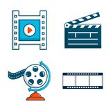 Video file icon set, cartoon style. Video file icon set. Cartoon set of video file vector icons for web design isolated on white background Royalty Free Stock Images