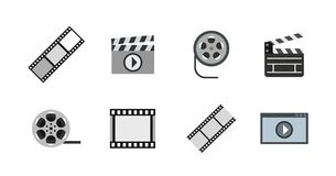Video file icon set, flat style. Video file icon set. Flat set of video file vector icons for web design isolated on white background Royalty Free Stock Image