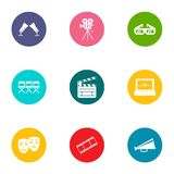 Video file icons set, flat style. Video file icons set. Flat set of 9 video file vector icons for web isolated on white background Stock Image