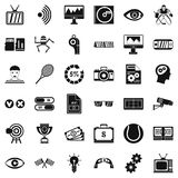 Video file icons set, simple style. Video file icons set. Simple style of 36 video file vector icons for web isolated on white background Royalty Free Stock Image