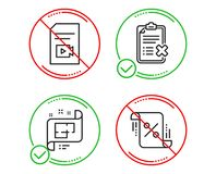 Video file, Reject checklist and Architectural plan icons set. Loan percent sign. Vector stock illustration