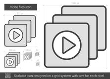 Video files line icon. Video files vector line icon isolated on white background. Video files line icon for infographic, website or app. Scalable icon designed Royalty Free Stock Photo