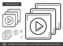 Video files line icon. Video files vector line icon isolated on white background. Video files line icon for infographic, website or app. Scalable icon designed Royalty Free Stock Photography
