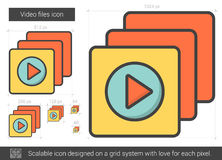 Video files line icon. Video files vector line icon isolated on white background. Video files line icon for infographic, website or app. Scalable icon designed Royalty Free Stock Images